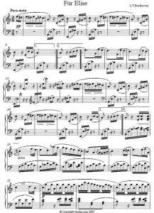 bladmuziek Fur Elise gratis downloaden piano