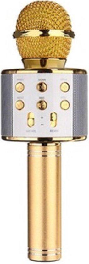 Karaoke microfoon bluetooth goud